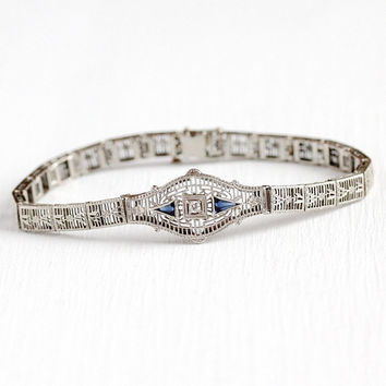Art Deco Bracelet - Vintage 14k White Gold Diamond   Simulated Sapphire  Flower Filigree Panel - cdc58f111