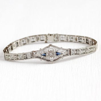 Art Deco Bracelet - Vintage 14k White Gold Diamond & Simulated Sapphire Flower Filigree Panel - Antique 1920s Blue Stone Floral Fine Jewelry