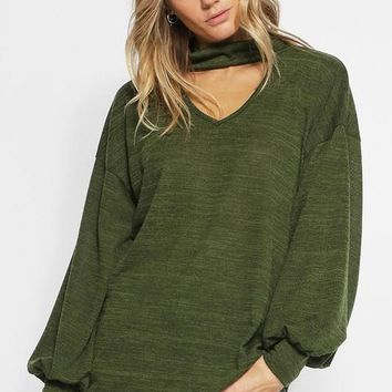 Sweater Knit Top with Puff Sleeves with Cuffs & Choker Neck - Olive