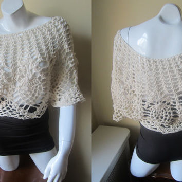 Poncho, crochet poncho, dolman sleeve, offwhite poncho, asymmetrical top,  coverter poncho top, Boho, festival clothing, gypsy, hippie