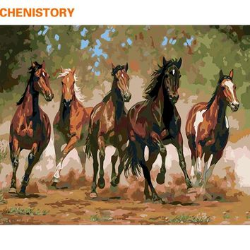 CHENISTORY Running Horse DIY Painting By Numbers Animals Modern Wall Art Picture Hand Painted Acrylic Paint For Home Decor Gift