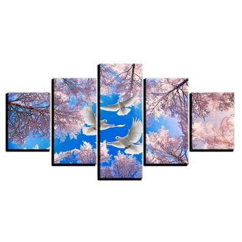 5 Panel Dove Bird Cherry Blossom Wall Art Canvas Panel Print For Living Room