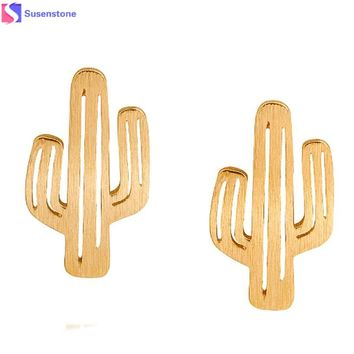 SUSENSTONE Ear Stud Alloy brushed hollow cactus earrings gold / silver / rose gold  female friends girls and collectors #5-6