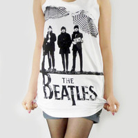 THE BEATLES 60s Pop Rock Vintage Rock Music T-Shirt Women Tank Top Rock Tunic Top Tank Vest Women Sleeveless White Singlet Shirt Size S M