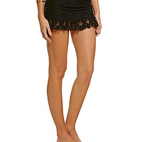 Kenneth Cole Reaction Island Fever Crochet Ruched Skirted Bottom