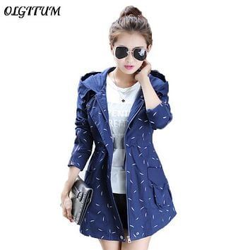 2017 Autumn winter new Women windbreaker Long section Hooded jacket Slim thin Dot Print jacket coat casual Loose trench coat
