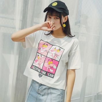 2018 Women'S Japan Punk Kawaii Ulzzang Korean Version Pink Leopard Cartoon Print T Shirt Female Ladies Clothes T-Shirt Women