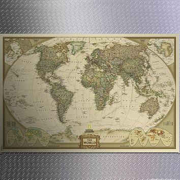 One Piece Large Vintage Retro Kraft Paper World Map Big Poster Home Office Decoration Wall Chart Sticker Map of World72*47cm