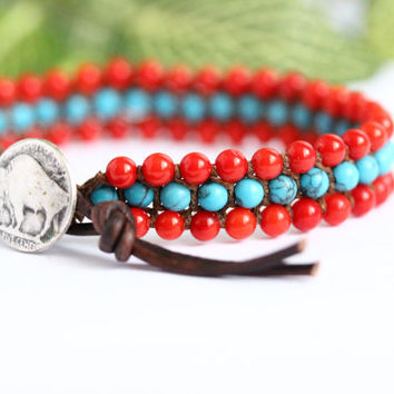 Turquoise and Coral Macramé Bracelet, 3 Row, Gemstone, Colorful, Hand Knotted, Wrap Bracelet