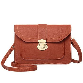 MINICAT Classic Envelope Style Synthetic Leather Small Crossbody Cell Phone Wallet Purse Bag For Women