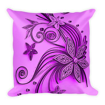 Square Pillow with insert - Floral ornament pattern in pink, purple colors