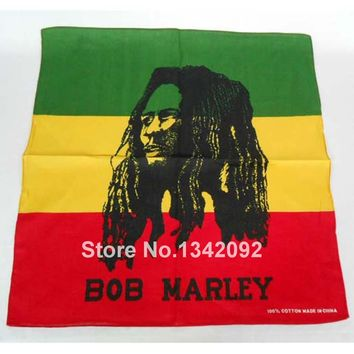 12pcs/lot Classic Hip-hop Cotton Bandanas For Women Mens Square Headband Scarf BOB MARLEY Rasta Head Wrap