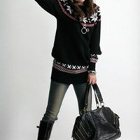 Wholesale Fashion High Collar Snowflake Long Sweater Black