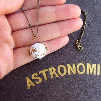 Moon necklace, long antique brass chain, science astronomy satellite planet.
