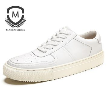 Spring Men Shoes Men Casual Shoes Breathable Fashion Flat Lace up Leather Shoes White Height Increasing Shoes