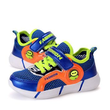 CREYUG3 Stylish Colorful Creative Bright Children Noctilucent Shoes Velcro Hollow Out Lights [4919287364]