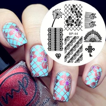 BORN PRETTY Elegant Lace Nail Art Stamping Template Image Plate BP44