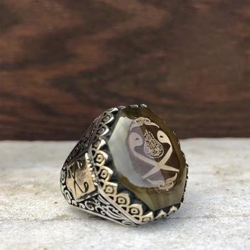 Amber gemstone with hoopoe 925k sterling silver mens ring