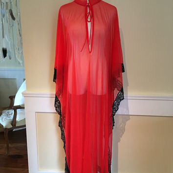 Lovely long 1970's red caftan lounge wear, black lace lingerie, lux lounge, sheer red, 70's robe, vintage lounge wear, caftan, red maxi dres