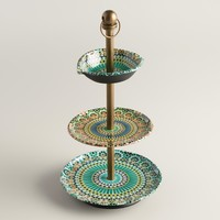Multicolor Mosaic Enameled Three-Tiered Jewelry Stand