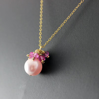 Pink Pearl Necklace, Pink Topaz Necklace, Pink Gemstone Necklace, Gold Fill Necklace, Pink Bridal Necklace, Topaz Gemstone Necklace