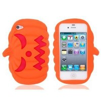 Halloween Pumpkin Pattern Silicone Protective Case for iPhone 4 4G 4S (Orange)