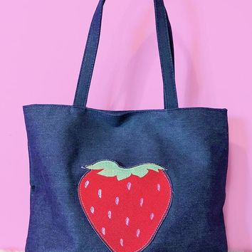 Strawberry Embroidered Pocket Denim Tote Bag