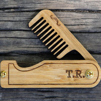 Personalized Handmade Folding Real Wood Mustache Comb