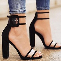 Fashion hot for women's shoes with large buckles and high heels