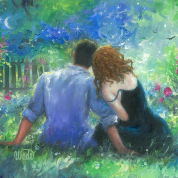 Garden Lovers Redhead Art Print, loving couple paintings, red haired lady, couples in love, romance paintings, Vickie Wade Art