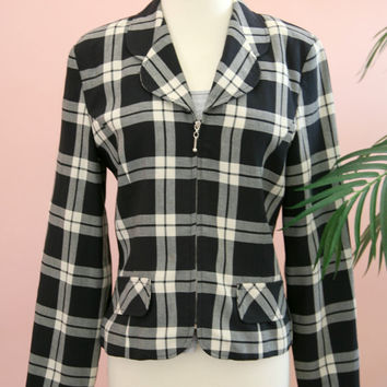 Ladies Navy Blue and White Checkered Cropped Blazer Zipper Closure