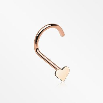 Rose Gold Heart Nose Screw Ring