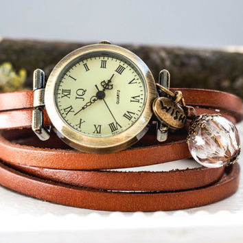 Woman Wrap Watch, bronze wrist watch roman numerals, wish watch, genuine leather, bead watch, bracelet watch, vintage antique bronze watch