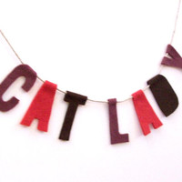 Cat Lady housewarming banner in wine, mauve and melon felt, room banner