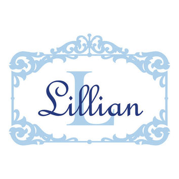 Personalized Name and Initial Rectangle Monogram Wall Decal Vinyl Wall Art Sticker