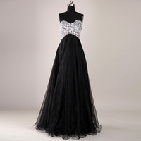 Gorgeous Black A-Line Floor-Length Prom Dresses