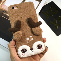Cute Deer Furry iPhone 6 6s Plus Case
