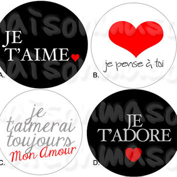 "Valentine's Day Amour Round Labels - Mason Jar Stickers 2"" or 2.5"""