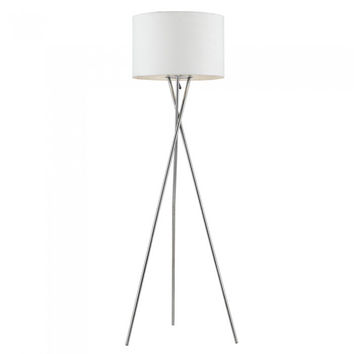 Euro Style Collection Lisboa Floor Lamp w/ Fabric Lampshade (Tall) Modern, Minimalist Tripod Standing Light | Living Room, Bedroom, Office | White