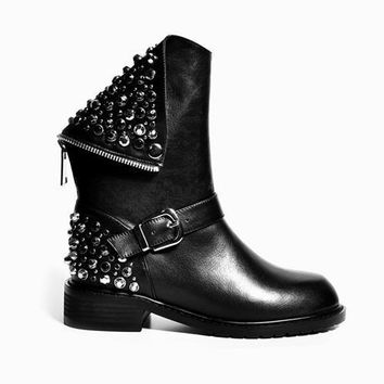 High Quality Genuine Leather Biker Boots