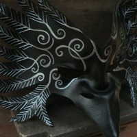 RAVEN Mask,  Black tribal Crow leather mask by faerywhere