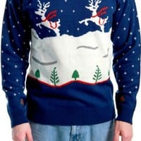 Ugly Christmas Sweater Step Brothers Dale Doback Prancing Reindeer Adult Navy Sweater