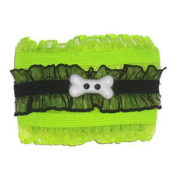 Goth Hair Comb - Layered Lace - Black and Neon Green Lace - Rocker Hair Accessory - Psychobilly Hair Comb