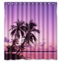 "Welcome!Waterproof Decorative Sunset Scenery Shower Curtain 66""x72""-5"