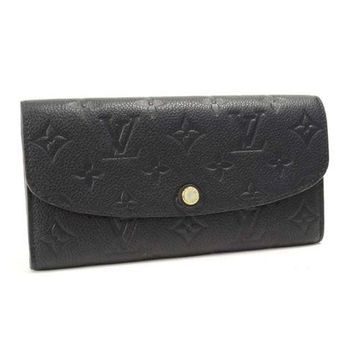 Auth LOUIS VUITTON Monogram Empreinte Portefeuille Emilie M62369 Wallet Black