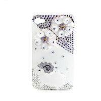 Handmade hard case for iPhone 4 & 4S: Bling cute lamp flowers (custom are welcome)