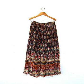 Vintage Boho Skirt. Floral Drawstring Skirt. Ethnic Midi Hippie Skirt. Cotton Gauze Made in India