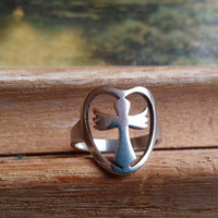 "Stainless Steel Ring, Cut Out Ring, Size 5 Ring, Angel Ring, Cross Ring Silver Ring ""2015 SALE"""