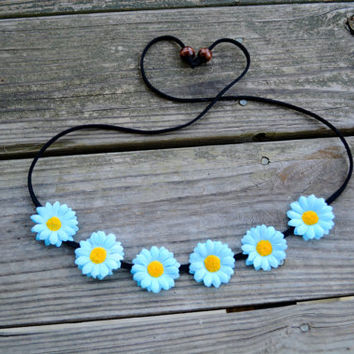 Teal Flower Crown Floral Halo Festival Headpiece Flower Hippie Hedband Light Blue Teal Daisy Flower Headband Halo Floral Hairpiece Boho