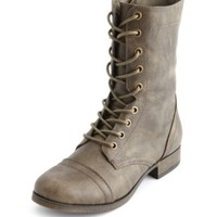 Distressed Lace-Up Combat Boots by Charlotte Russe - Taupe
